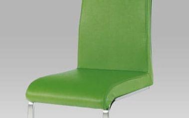 Jídelní židle AC-1819 chrom/koženka zelená