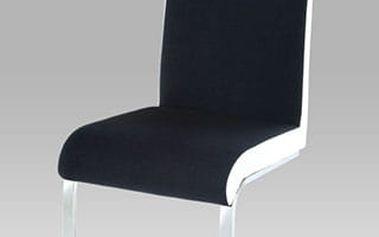 Jídelní židle HC-760 BKW - chrom/látka černá s boky v bílé kožence