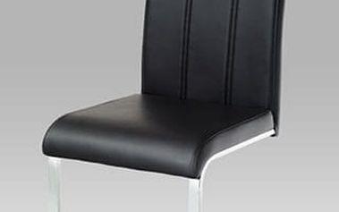 Jídelní židle WE-5027 BK - chrom/koženka černá