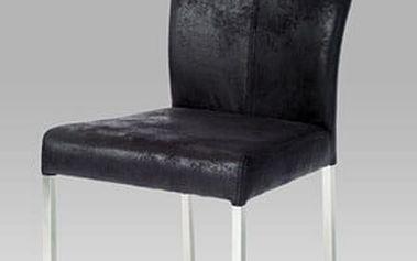 Jídelní židle DCH-631 BK3 - nerez/černá látka