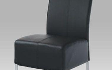 Jídelní židle AC-2101 BK - alu/koženka černá