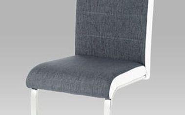 Jídelní židle WE-5025 GREY2 - chrom/šedá látka/koženka