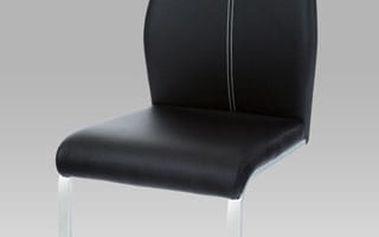 Jídelní židle HC-785 BK - chrom/koženka černá