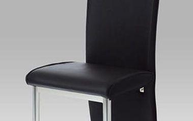 Jídelní židle AC-1367 chrom/koženka černá