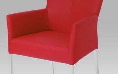 Jídelní židle s područkami BE6033-ARM RED - nerez/koženka červená