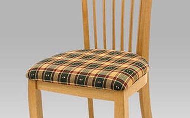 Jídelní židle BE708 OAK - dub/potah kostka zelená