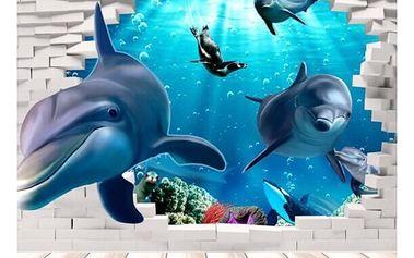3D samolepka na zeď - delfíni - dodání do 2 dnů