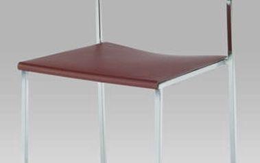 Jídelní židle CT-222 BR - chrom/plast vínový