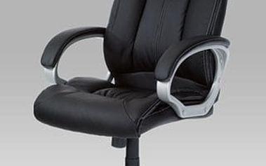 Kancelářská židle KA-N955 BK - koženka černá s bílým prošitím