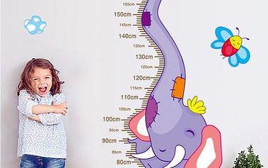 Samolepka na zeď - Dětský metr se slonem - dodání do 2 dnů
