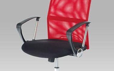 Kancelářská židle KA-E300 RED - černá koženka/červená látka