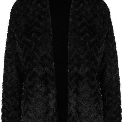 Černý vzorovaný blejzr s dlouhým vlasem VERO MODA Jane