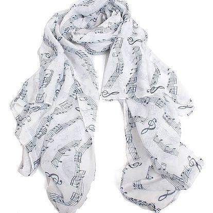 Jemný dámský šátek s motivy notiček - bílá s modoru - dodání do 2 dnů