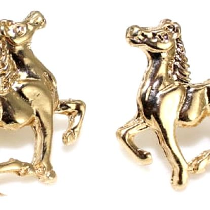 Náušnice s koňmi - zlatá barva - dodání do 2 dnů