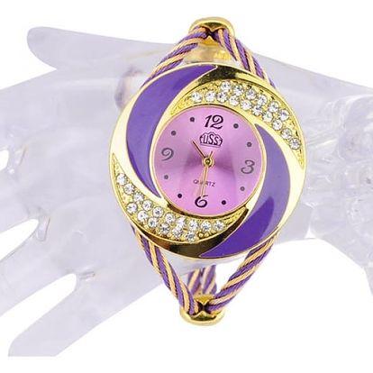 Stylové dámské hodinky v zlatofialové barvě - dodání do 2 dnů