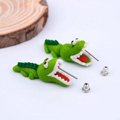 Veselé náušnice s krokodýlem - dodání do 2 dnů