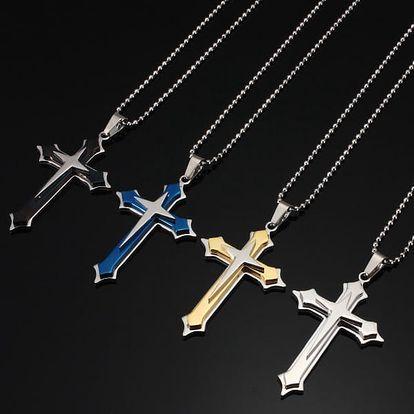 Pánský kříž na krk ve čtyřech barvách