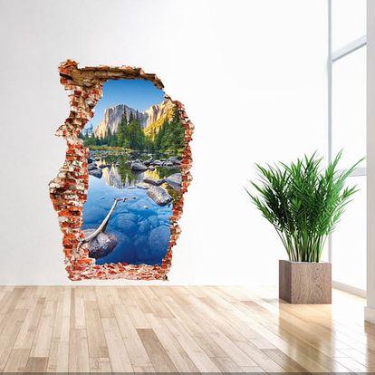 3D samolepka na zeď - Horská řeka - dodání do 2 dnů
