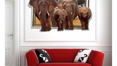 3D samolepka na zeď - Sloní stádo - dodání do 2 dnů