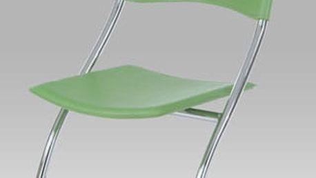 Jídelní židle B161 GRN - chrom/zelený plast