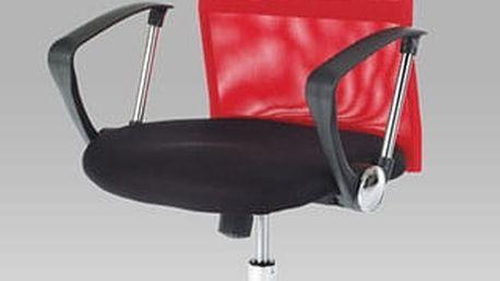 Kancelářská židle KA-E310 RED - černá koženka/červená látka