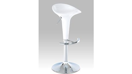 Barová židle AUB-102, bílý plast/chrom