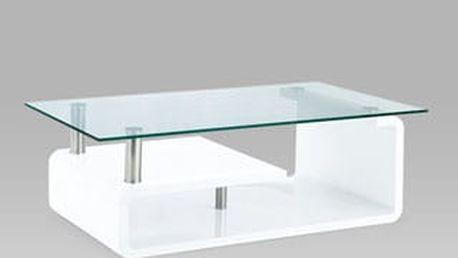 Konferenční stolek AHG-056 WT 120x65x40 cm - sklo/bílý
