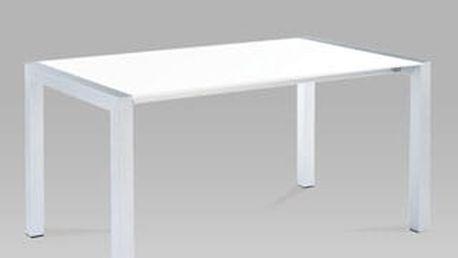 Jídelní rozkládací stůl WD-5825-1 WT 150+40+40x90xcm - alu/bílý