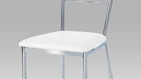 Jídelní židle AUC-178 chrom/koženka bílá