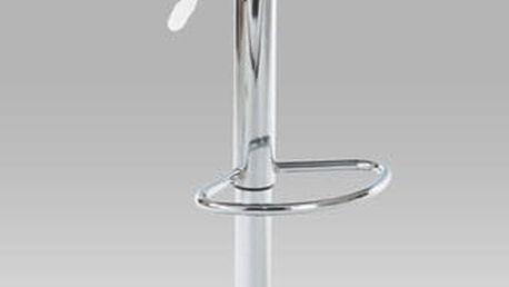 Barová židle AUB-300, chrom/koženka bílá