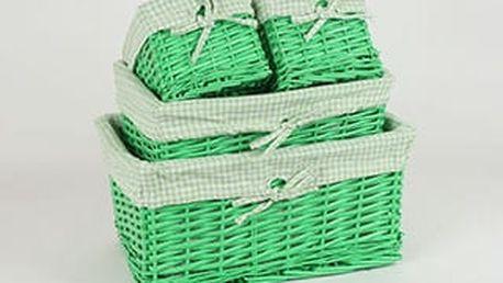 Košík proutěný, sada 4ks, barva zelená