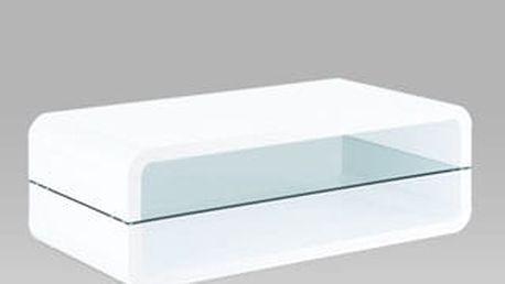 Konferenční stolek AHG-012 WT 120x60 cm - sklo/bílý