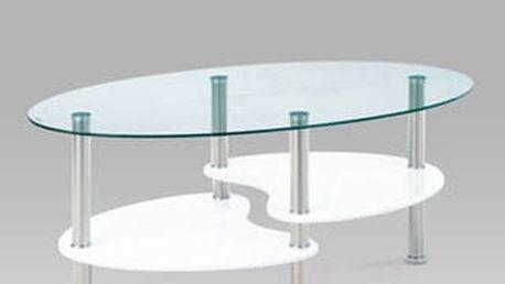 Konferenční stolek ACT-007 WT 100x60x42 cm - sklo/bílý/leštěný nerez