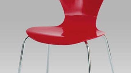 Jídelní židle C-180-5 RED - chrom/překližka červená