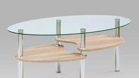 Konferenční stolek AF-2007 SON, čiré sklo / sonoma