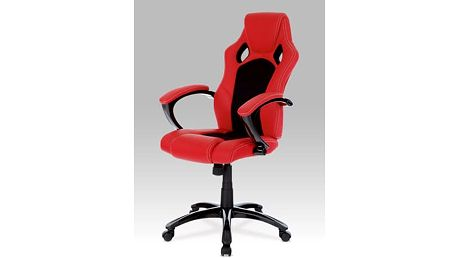 Kancelářská židle KA-N157 RED - koženka červená/mesh černá/černý lak
