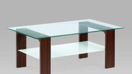 Konferenční stolek AF-2037 WAL, čiré sklo/ořech