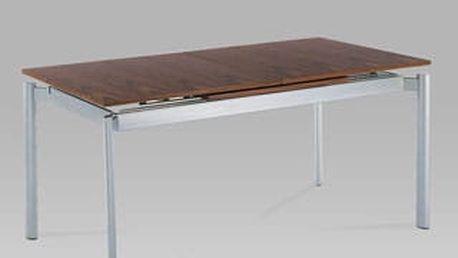 Jídelní rozkládací stůl WD-5864 AWAL 160+72x85 cm - alu/dýha ořech