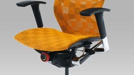 Kancelářská židle KA-2020 ORA - oranžová látka/chrom