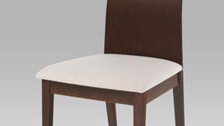 Jídelní židle BC-3164 barva ořech, potah krémový
