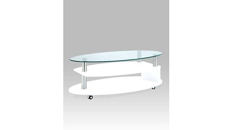 Konferenční stolek AHG-059 WT 110x60x38 cm - sklo/bílý
