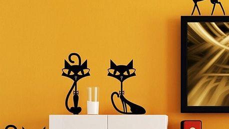 Samolepka na zeď - čtyři kočičky - dodání do 2 dnů