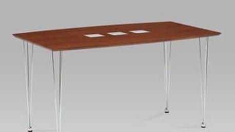 Jídelní stůl WD-5909 BR 135x80 cm - chrom/dýha ořech