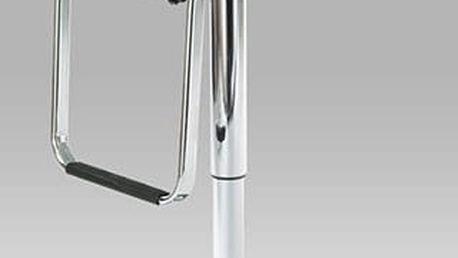 Barová židle AUB-305 - chrom/koženka bílá