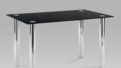 Jídelní stůl AT-1011 BK 130x80 cm - chrom/černé sklo