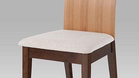 Jídelní židle C-1507 BWAL - ořech/opěrák jádrový buk/potah krémový