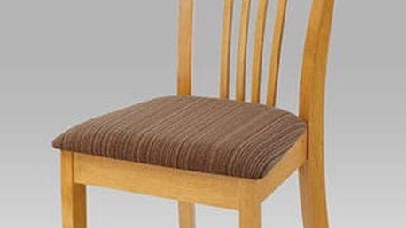 Jídelní židle BE702 OAK - dub/potah hnědý melír