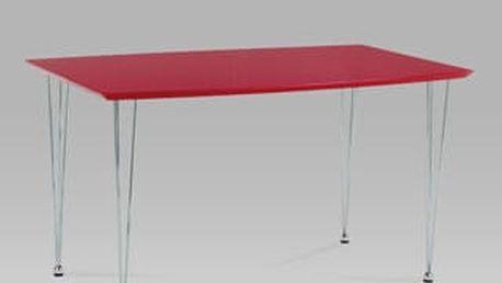 Jídelní stůl WD-5832 RED 130x80 cm - chrom/červená