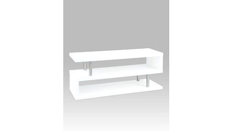 TV stolek Artium, chrom/vysoký lesk bílý