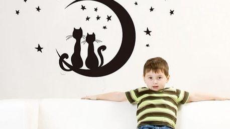 Samolepka na zeď - Kočičky na měsíci - dodání do 2 dnů